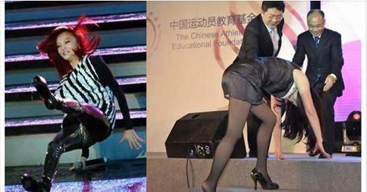 女星走紅毯摔倒尷尬瞬間,陳喬恩最美,最後一名表現大方面帶微笑!超尷尬!