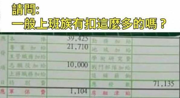 網友︰服役 22年中校的餉單!上班族有扣得我們多?
