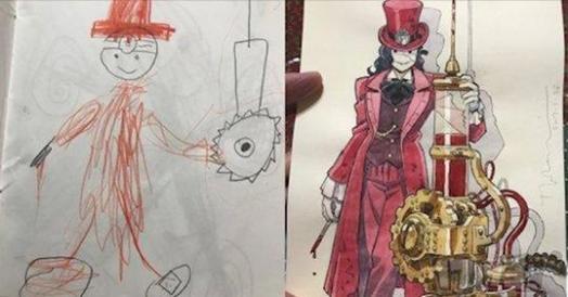 9張更多爸爸將兒子隨手畫的塗鴉改成「究極版超狂角色」畫作!