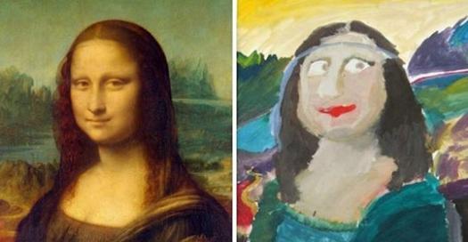 老師要求11位小孩以自己的方式畫出經典的世界名畫,結果選擇畫蒙娜麗莎的太爆笑了!