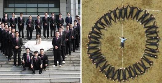 只有一個女同學!全班35位男生腦洞大開拍出史上最猛畢業照,要她「穿上婚紗變身女王」!